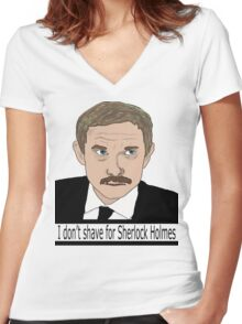 I don't shave for Sherlock Women's Fitted V-Neck T-Shirt