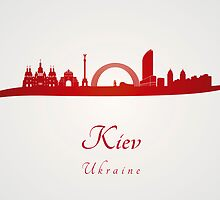 Kiev skyline in red by Pablo Romero