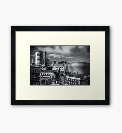 Birmingham Cityscape Skyline, UK in Monochrome Framed Print