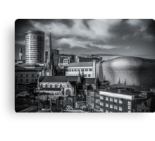Birmingham Cityscape Skyline, UK in Monochrome Canvas Print