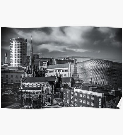 Birmingham Cityscape Skyline, UK in Monochrome Poster