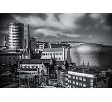 Birmingham Cityscape Skyline, UK in Monochrome Photographic Print