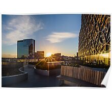 Sunset over the Discovery Terrace at The Library of Birmingham Poster