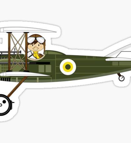 Cute RAF Pilot in Bi-Plane Sticker