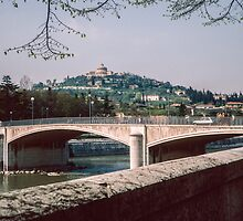 Bridge over R Adige Verona Italy 198404190074m  by Fred Mitchell
