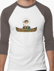 Cute Little Inuit Fisherman in Kayak Men's Baseball ¾ T-Shirt