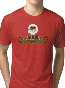 Cute Little Inuit Fisherman in Kayak Tri-blend T-Shirt