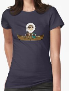Cute Little Inuit Fisherman in Kayak Womens Fitted T-Shirt
