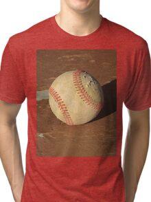 Scuffed Baseball on a Scuffed Picnic Table Tri-blend T-Shirt