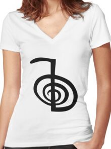 reiki  symbol labyrinth Women's Fitted V-Neck T-Shirt