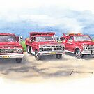 three family trucks watercolor by Mike Theuer