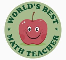 """Green """"world's best match teacher"""" sticker and tote with red cartoon apple by Mhea"""