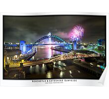 New Years Fireworks at the Newcastle & Gateshead Quayside, 2014 - Colour Poster