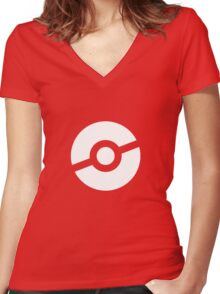 Pokeball Symbol Women's Fitted V-Neck T-Shirt