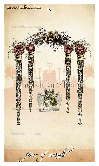 The Wands Suit - Four of Wands by TheIsidoreTarot