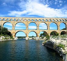 Pont du Gard, France - Roman aquaduct by Mark Baldwyn