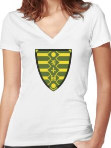 Medieval Knights Shield Pattern Women's Fitted V-Neck T-Shirt