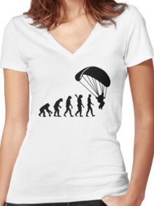 Evolution Skydiving Parachute jumping Women's Fitted V-Neck T-Shirt