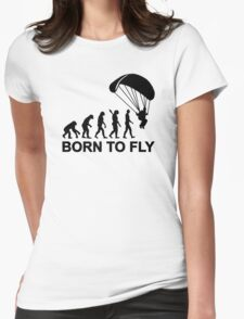 Evolution Skydiving born to fly Womens Fitted T-Shirt