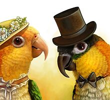 Mr & Mrs Caique Realistic Painting by lifewithbirds
