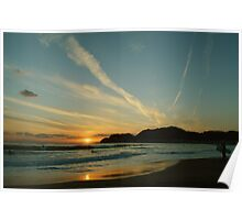 Surfing at Sunset Poster