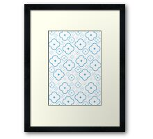 Abstract Blue Flower Pattern Framed Print
