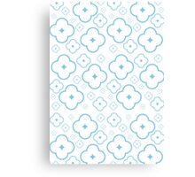 Abstract Blue Flower Pattern Canvas Print