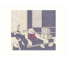 Rainy day nap Art Print