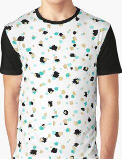 Teal, Faux Gold, & Black Speckled Paint Daubs Graphic T-Shirt