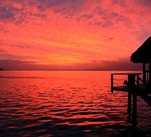 Red Sunrise - Moorea Island - Tahiti - French Polynesia by Honor Kyne