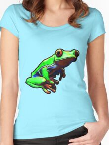 Frog - Red-Eyed Tree Frog - Tropical Rainforest  Women's Fitted Scoop T-Shirt