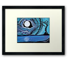Surreal Landscape - by Angieclementine tree landscape moon Framed Print
