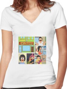 Bobs Burgers Collage Women's Fitted V-Neck T-Shirt