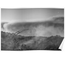 Austin Images - Pennybacker Bridge in Morning Fog 1 black and white Poster