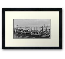 Gondola Row, Venice Italy Framed Print