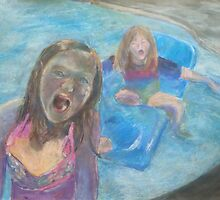 Girls Splashing in the Pool by Emma Kaufmann