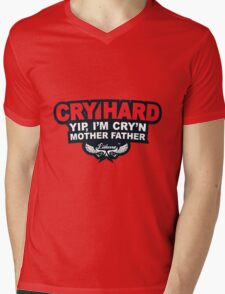 CRY HARD  Mens V-Neck T-Shirt
