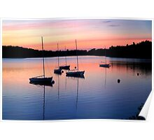 Boats in pastel waters Poster