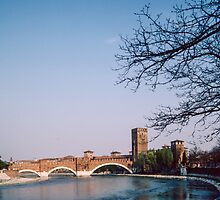 Ponte Scaligeri over Adige with Castelvecchio Museum Verona Italy 198404190083 by Fred Mitchell