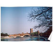Ponte Scaligeri over Adige with Castelvecchio Museum Verona Italy 19840419 0083 Poster
