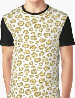 Glamorous Faux Sparkly Gold Leopard Graphic T-Shirt