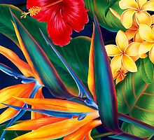 Tropical Paradise Hawaiian Birds of Paradise Illustration by DriveIndustries