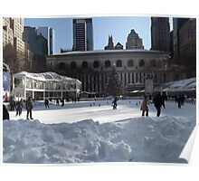Bryant Park Skating Rink After A Snowfall, Bryant Park, New York City Poster