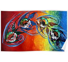 COLORFUL, ABSTRACT FISH !!  FUN, Whimsical, UNIQUE, Original. Poster