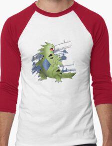 Tyranitar with Blue Rocky Scratches Men's Baseball ¾ T-Shirt