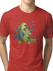 Tyranitar with Blue Rocky Scratches Tri-blend T-Shirt