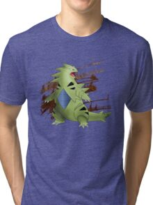 Tyranitar with Brown Rocky Scratches Tri-blend T-Shirt