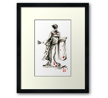 Geisha Japanese woman sumi-e original painting art print Framed Print