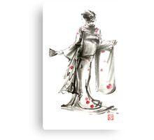 Geisha Japanese woman sumi-e original painting art print Metal Print