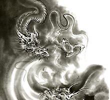Two dragons gold fantasy dragon design sumi-e ink painting dragon art by Mariusz Szmerdt
